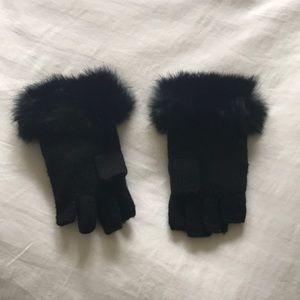 Adrienne Landau - Rabbit fur trim fingerless glove